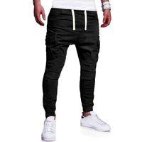 Wholesale plus size gray belt online - 2019 Spring Men Cargo Pants Loose Solid Color Multi Pockets Trousers Casual Jogging Drawstring Belt Men Pants Plus Size M XL