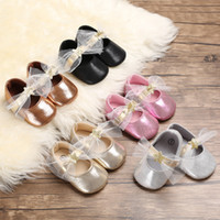 Wholesale wholes clothing for girls resale online - Baby Girls princess lace bow shoes glitter Star slip on first walkers Infants birthday party costume for T INS princess clothing