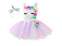 ingrosso pannello esterno di soffio della principessa-New Queen Unicorn Dress Girl Dress Bambino Princess Tutu Dress Performance Puff Skirt con diamante Princess Kids Skirt Wedding Flower girl # 02