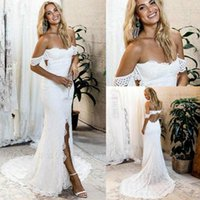 Wholesale sexy short sleeve mermaid wedding dress for sale - Group buy 2020 Sexy Bohemian Short Sleeve Lace Mermaid Wedding Dresses Sweetheart Floor Long Split Elegant Country Boho Wedding Dress Bridal Gowns