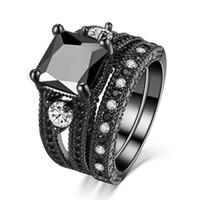 siyah altın nişan yüzük setleri toptan satış-Kadın Prenses Kesim Doğal Siyah Pırlanta Yüzük Kristal Zirkon 4kt Siyah Altın Dolu Düğün Nişan Yüzüğü Seti 5-12