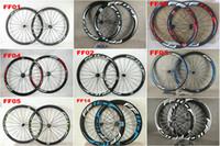 rueda tubular de china al por mayor-China Oem FFWD 50 mm Carbono Ruedas de carretera Juego de ruedas Clincher / Tubular Mate / brillante Juego de ruedas de bicicleta muchos colores