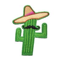 eisen cowboy großhandel-Cowboy und Kaktus mit Hut und Bart gesticktes Eisen auf Kleidungs-Flecken-freier Verschiffen-Großverkauf