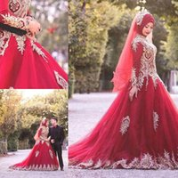 Wholesale red muslim wedding dresses hijab for sale - Gold Appliques Muslim Hijab Wedding Dresses High Neck Burgundy Long Sleeve Vintage Bridal Dresses Dubai Wedding Ball Gowns Custom Made