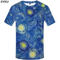 Wholesale art paintings brown resale online - KYKU Brand Van Gogh T shirt Stars T shirts blue Tshirt art shirts painting Tops Short sleeves clothes Stars clothing d T shirt