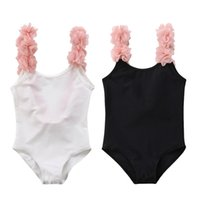 Wholesale kids beach outfits resale online - Sweet Girls One Piece Swimsuit Kids Cute Flower Strap Swimwear Children Summer Beach Playing Outfit Backless Bathing Suit
