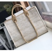 Wholesale beach bags resale online - Women luxury handbags shopping bags top quality fashion designer shoulder bag Large tote with chain brand beach bag