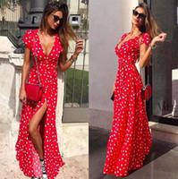 vestido de mujer sexy atado al por mayor-Deep V Dots Vestido de mujer Moda de verano Lazos femeninos Split Up Beach Vestidos casuales sexy