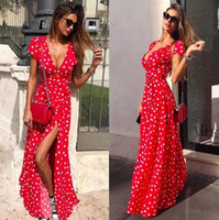 ingrosso casual vestire le donne-Deep V Dots Women Dress Summer Fashion Female Ties Split Up Beach Abiti casual sexy