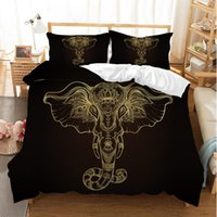 ropa de cama de oro al por mayor-3D Print Indian Gold Elephant Bedding Set 3 UNIDS BohEmia Mandala Animal Funda Nórdica Set 100% Microfibra Ropa de Cama Funda de Almohada