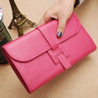 Wholesale cow leather purse for sale - Group buy Designer High Quality Women Wallets and Purses Fashion Large Capacity Ladies Purse Cow Leather Luxury Wallet Women Bag Designer Money Bag