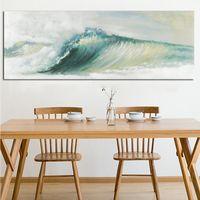pintura abstracta de las olas del océano al por mayor-Verde Océano Mar Olas Lienzo Paisaje marino Pintura Cuadros Abstracto Moderno Póster e impresión Paisaje de pared Imagen de pared para sala de estar