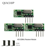 uhf module venda por atacado-QIACHIP 3 pcs 433 mhz RF Receptor Superheterodyne UHF ASK 433 Mhz Kit Módulo de Controle Remoto de Tamanho Pequeno de Baixa Potência Para Arduino Uno
