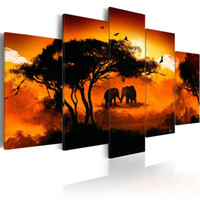 ingrosso pittura astratta di elefante-(No Frame) Stampa su tela Modern Abstract Love of Africa Elephant Poster Modern Home Decorazione della parete Pittura Stampa su tela Art HD Stampa Painti