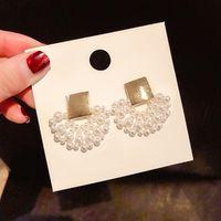 handgewebte perlen großhandel-2019 neue design modeschmuck elegante handgewebte perlenohrringe fächerförmige hochzeit ohrringe für Mädchen geschenk für frau