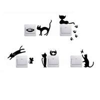 ingrosso interruttore a parete nero-Cartoon Black Cat Home Switch Stickers personalizzati Wall Stickers Decorated Modern Home Accessori Home Decal Bambini Camera