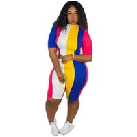 Wholesale colorful outfits resale online - 2019 Colorful Stripe Sexy Two Piece Set Casual Tracksuit Women Two Piece Outfit Tee Top Bodycon Biker Shorts Matching Sets