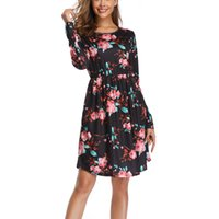 Wholesale home shopping dress for sale - Group buy Floral Print Crew Neck Women Dress With Pocket Casual Holiday Shopping Beach Long Sleeve Daily Loose Home Soft Polyester