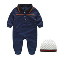 erkek pamuklu nakış toptan satış-Sonbahar bebek erkek tulum tasarımcı çocuklar çizgili yaka uzun kollu tulumlar bebek kız mektup nakış pamuk romper erkek giyim A001