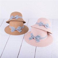 Wholesale kids wide brim straw hat resale online - Baby Breathable Straw Hat Summer Bow Sunscreen Cap folding kids Girl Bowknot bucket Straw Hat Wide Brim Hats LJJ AA2491