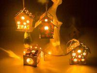 ingrosso natale candela elettrica-Hot casa Casa Natale di legno per il regalo dei bambini Kids Festival regalo fai da te con brillanti elettrica a lume di candela Decorazione albero di Natale