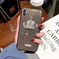 krone telefon abdeckungen großhandel-Luxus Designer Glitter Crown Fall Abdeckung Anti-Kratz-Schutz Telefon Fall für iPhone Xs max XR X 8 7 6 zurück Fall