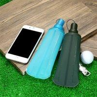зеленая бутылка с горячей водой оптовых-Складной мешок для воды Пластик Waters Бутылки Открытый Движение Укус Рот Дизайн Хорошая производительность уплотнения Горячие продажи Зеленый Синий 12yn2C1
