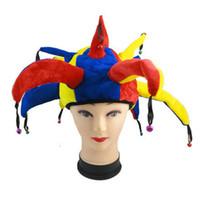 ingrosso campane di pagliaccio-Clown Hat Halloween Masquerade Decoration Cosplay Cappelli Pagliaccio Bambino adulto colorato con piccola campana Carnevale