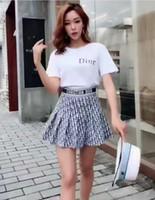 damen anzug kleider großhandel-Sommer Neue Damen Marke T-Shirt Kurzer Rock Luxus Designer Kleid Kleine Frauen DI * R Print T-Shirt Halblanger Rock Anzug
