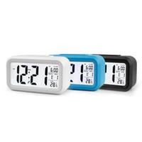 ingrosso sveglia della batteria-Bambini Luce Allarme batteria del sensore Ufficio Tabella Orologio digitale Orologi Student Clock Ampio Display LCD Snooze Temperatura Clock