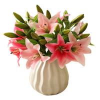 cadeaux fleur lis achat en gros de-11pcs 3 têtes Real Touch PVC Artificielle Lily Soie Fleur Décorative pour la Décoration De Mariage Cadeau De Noël