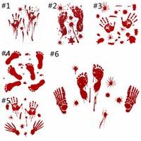 blutige hände groihandel-Halloween blutigen Hand-Druck-Aufkleber Fuß-Druck-Fenster-Wand Halloween Dekoration Party Store Home Stickers Hot HHAA901