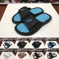 planos anchos para mujer al por mayor-2019 Jump Man 6s para mujer para hombre Diseñador de lujo Sandalias de moda Zapatilla ancha plana Negro Azul diapositivas Chanclas al aire libre interior Zapatos casuales