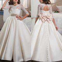 726472b0d Rebajas elegant flower girl dress satin - Elegante vestido de moda para la  primera comunión santa