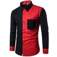 chemises slim fit venda por atacado-Red Black Patchwork Camisa Dos Homens 2019 Outono New Slim Fit Mens Camisas de Vestido Ocasional Camisa Social Do Negócio Masculino Hit Color Chemise 3XL