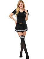 ingrosso cheerleader sexy del costume della donna-S-4XL donne sexy vestito da marinaio costume cosplay studentessa sexy uniforme cheerleader costume da calcio con calza