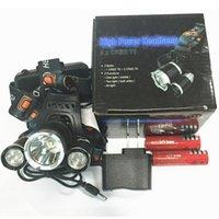 beste lampen großhandel-CRESTECH Meistverkaufte 3T6 Scheinwerfer 6000 Lumen T6 Scheinwerfer High Power LED Scheinwerfer Scheinwerfer Taschenlampe Kopf + Ladegerät