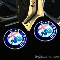 romeo 156 toptan satış-Alfa Romeo için 2 Adet LED Araba Kapı Hoşgeldiniz Işık Logo Projektör Giulia Giulietta Mito Stelvio Brera 147 156 159