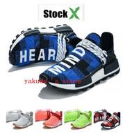 Wholesale plaid sneakers resale online - Holi Human Race Blue Plaid Sports Running Training Sneakers Know Soul Discount cheap women men Pharrell x Hu Trail New Running Shoe