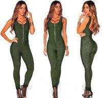 armée femmes achat en gros de-Armée Vert 2019 Femmes Élégantes Sexy Moulante Bandage Combinaison Combinaison Longue Combinaison Club Party Combishorts Sans Manches Avant Zipper Combinaison
