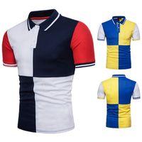 ingrosso camicia di polo gialla sottile-Polo geometrica a contrasto di colore blu e giallo da uomo Polo slim fit manica corta Polo Homme Casual Summer Top Tee Shirt Camisetas 1314-Q45