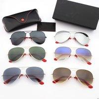 tee-gläser großhandel-Metallrahmen Glas Sonnenbrillen Mode Retro Brille Gradient Tee Gradient grau UV400 Glaslinsen Sonnenbrille sowie original Ledertaschen