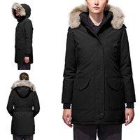 abajo parka canada mujeres al por mayor-Parkas mujeres del diseñador del invierno Canadá Mejor calidad Marca abajo cubren Savona grueso de lujo con capucha Outwear verdadero lobo de piel caliente chaquetas E07