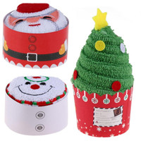 Wholesale cupcake tree resale online - Cupcake Cotton Towels Santa Claus Christmas Tree Snowman Xmas Gifts x30cm