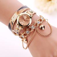 Wholesale clock chain bracelet resale online - Hot Women Watches PU Leather Rhinestone Chain Quartz Wristwatch Bracelet Watch Ladies Montre Femme Gift Clock W