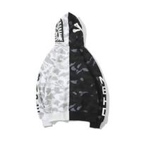 ingrosso maglione stampato-Felpa con cappuccio da uomo firmata AAPE felpe con cappuccio del marchio di moda Pullover con stampa testa di squalo Maglione bianco nero a contrasto uomo donna felpa di alta qualità