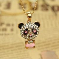 pandas diamant großhandel-Diamant-hängende Halsketten-Strickjackeketten-Halsketten-nette weibliche Panda-Schmucksache-Kettenhalsketten