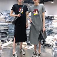 ingrosso abito grasso-Designer Women Dress Dress a maniche corte Estate femminile 2019 New Casual Allentato Sezione lunga sopra il ginocchio Large Size Fat Sister T-shirt Skirt