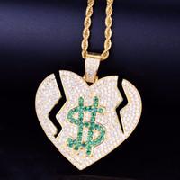 halskette symbol herz großhandel-Iced Out Gebrochenes Herz Dollar Symbol Liebe Anhänger Halskette Seil Kette Gold Silber Zirkonia Herren Hip Hop Rock Schmuck 5x3,5cm