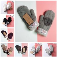 Wholesale girls glove for sale - Group buy Brand ug Mittens Winter Knitted Gloves With Lovely Fur Ball women girls luxury warm pom pom glove Mitten christmas gifts colors